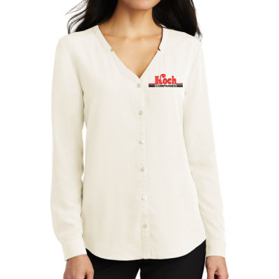 Port Authority - Ladies Long Sleeve Button Front Blouse - Embroidered Logo Thumbnail