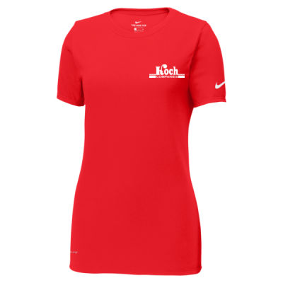 Nike - Ladies Dri-Fit Cotton/Poly Scoop Neck Tee - Screen Printed Logo Thumbnail